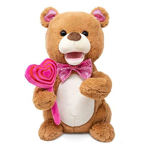 Cuddle Barn  Sugar Pops 10 Teddy Bear Animated Stuffed Animal Plush Toy for Valentines  Singing Bear Dances and Lights up  Sings Sugar Sugar