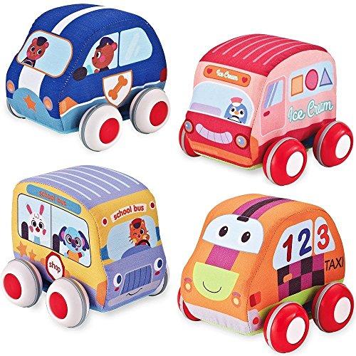Bebemondo Pull Back VehiclesSoft Cars Baby and Toddlers Toy Set4 Cars and Trucks Pull BackCar Toys GiftsSoft Baby Toy Set CarPush Cars Toyfor KidsToddlersBabies Boys GirlsGift BoxToy Car4pcs