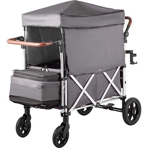 Happybuy Stroller Wagon 2 Passengers Push Wagon Muti-Function Folding Wagon Canopy Aluminium Alloy Wagon with Canopy 110LBS Capacity Push Pull Wagon Gray Wagon Stroller Wagon Canopy for Kids