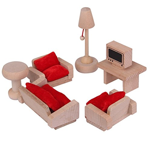 NUOLUX Dollhouse Furniture Living Room Set Traditional Wooden Toy for Kids