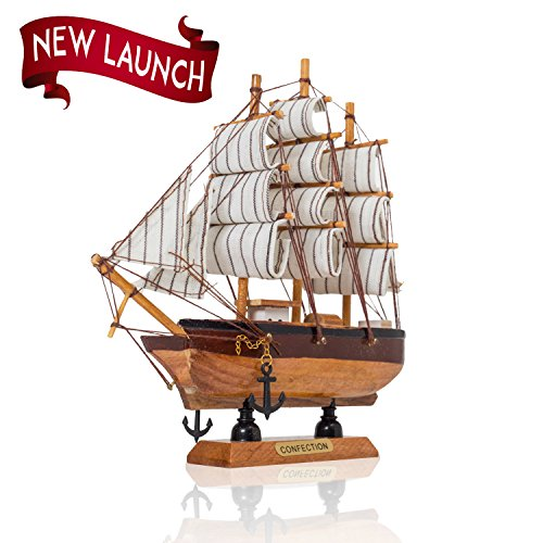 Vintage Model Ship- Handmade Wooden Replica Ship with Cloth SailsFully Assembled Pre-Built Model Ship Nautical Decor Traditional Wooden Toy Boat 6 Random Variation