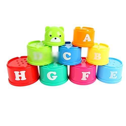 MMRM Stacking Cups with Numbers and Alphabets Baby Early Educational IQ Toy Random Color