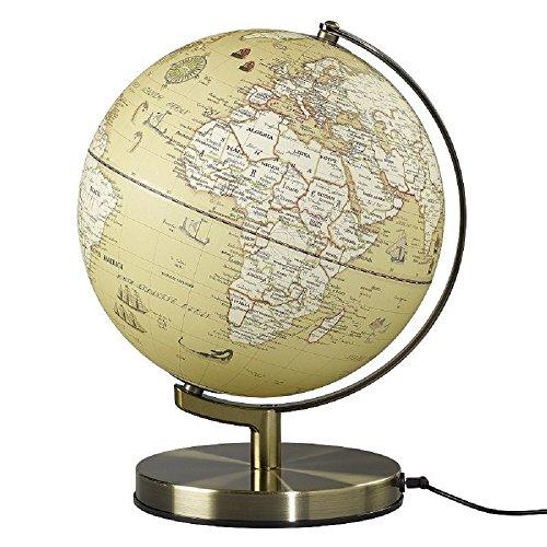 Wild Wood Illuminated Geographic World 10 Desk Globe with Stand LED Lighting and USB Plug Vintage AWWL093