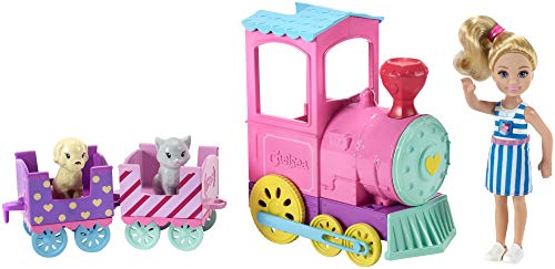 Barbie Club Chelsea Train Playset with 3 Connecting Cars Chelsea Doll 1 Kitten and 1 Puppy