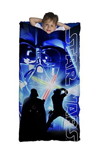 Star Wars Classic Slumber Bag Bonus Backpack with Straps Darth Vader Light Saber Blue