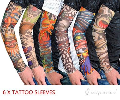 RayLineDo 6X Temporary Tattoo Fancy Funky Fashion Costume Novelty 92 Nylon and 8 Lycra Tattoo Arm Leg Stockings Sleeves