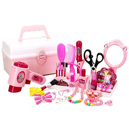 HMANE Pretend Play Toys for Girls Kids Hair Cosmetics Toys Fashion Hair Stylist Beauty Salon Hair Accessories - 31 Piece Set