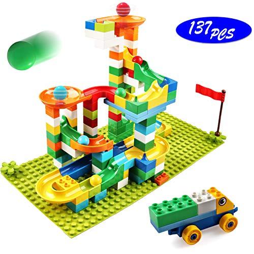 Marble Run Building Blocks 137 PCS Classic Big Blocks STEM Toy Bricks Set Kids Race Track Compatible with All Major Brands Bulk Bricks Set for Boys Girls Toddler Age 345678
