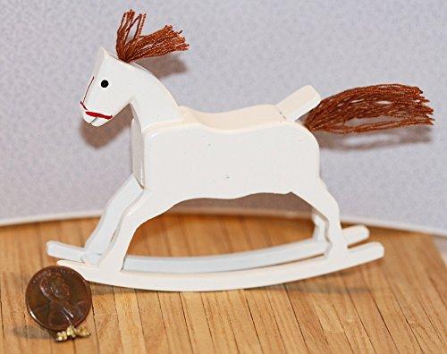 Dollhouse Miniature Charming White Rocking Horse