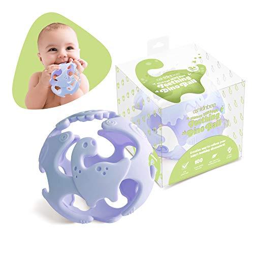 Ashtonbee Baby Teething Ball Teething Toys for Baby Dinosaur Teether Ball Baby Teething Pacifier Lightweight Teething Sensory Balls Blue