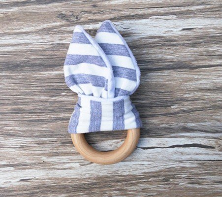 3 PcLot baby Teething Ring Fabric and Wooden Teething training with Crinkle Material Inside Sensory Toy Natural teether bell bijtring