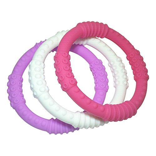 Teething Ring 3 Pack - mooi baby - Baby Teething Rings - GIRL Baby Teether - 100 Silicone Infant Teether - No BPA - Non-Toxic - Soothing Gums - Teether Bracelet - Sensory Rings - Baby Teether Rings