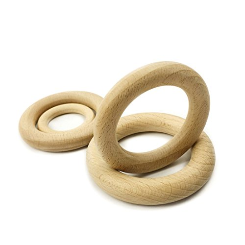 50pc 7cm Wood Ring for Teething Doll Making Toy Making Teether Wooden Teething Ring