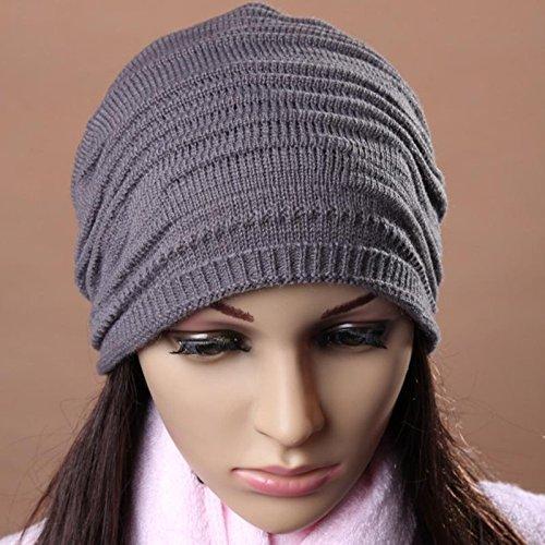 JIEPING Crochet Ski oversized slouch Cap Layers of Loops Hat Fashion Warm Outdoor Fashion Hat Dark Grey