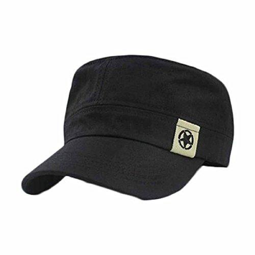 XUANOU Fashion Unisex Flat Roof Military Hat Cadet Patrol Bush Hat Baseball Field Cap Black