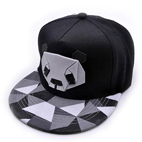 Unisex Fashion Panda Sports Baseball Cap Snapback Hip-Hop Adjustable Hat for Men Women Black