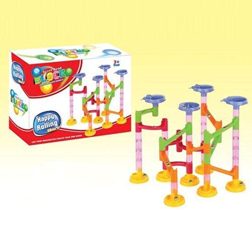 Soledi Children Kids 58Pcs DIY Building Blocks Blicks Education Maze Track Run Race Game Tower with Marble Ball Construction Toys