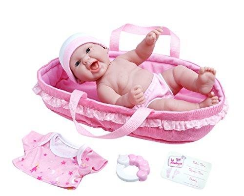 La Newborn Realistic Baby Doll Soft Basket Set - 6 Piece Gift Set featuring 13 All Vinyl Newborn Doll Ages 2 by JC Toys