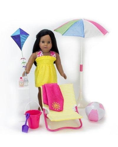 18 Inch Sophias Doll Beach 10 Pc Set of Pretend Play Doll Sun Umbrella Kite Towel Beach Ball Bucket Shovel Sunscreen Water Bottle Lounge Chair for American Dolls More Doll Furniture Set