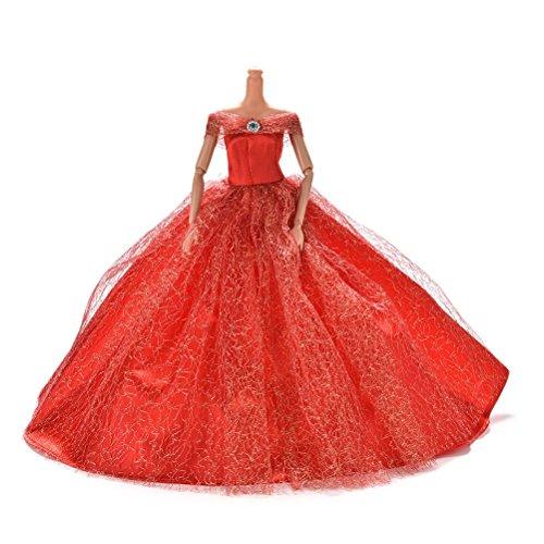 1pcs Fashion Dolls dresses Wedding Trailing Skirt Dress doll clothes Red