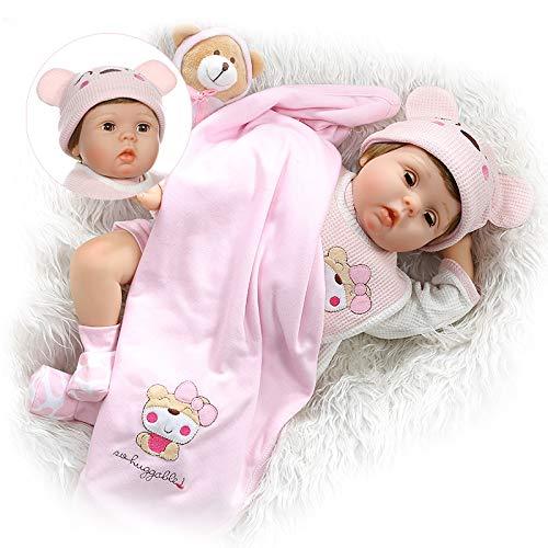 Cute Reborn Baby Girls Dolls Blinking Eyes Soft Vinyl Silicone 22 Inch Newborn Doll