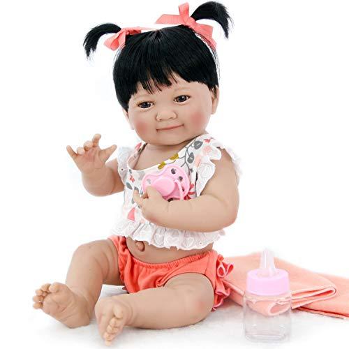 PURSUEBABY 14 Inch Washable Reborn Baby Girl Doll Full Body Toddler Reborn Vinyl Baby Dolls Joyer Lifelike Real Looking Baby Dolls Black Hair with Gift Box