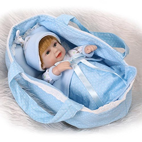 11 Lifelike Reborn Boy Baby Alive Vinyl Bathing Newborn Doll Kits with Sleeping Basket Playhouse Girl Toys