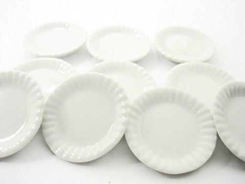 10 x30 mm White Plates Dollhouse Miniatures Ceramic Kitchen Supply - 10875