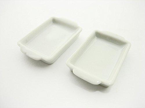 2 White Baking PanTray 20x30 mm Dollhouse Miniatures Ceramic Supply - 10884