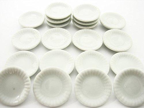 20x20mm White Round Plate Dish Dollhouse Miniatures Ceramic Kitchen Supply 10886 by Wonder Miniature