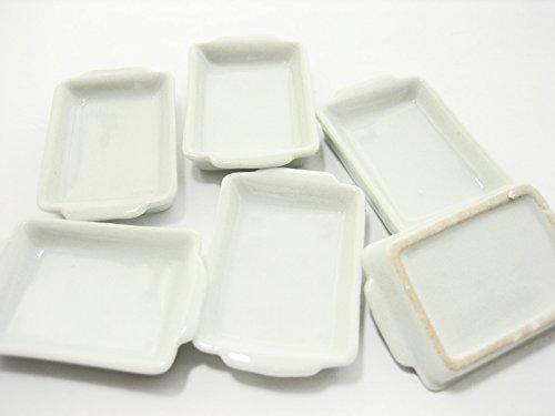 6 White Baking PanTray 25x35 mm Dollhouse Miniatures Ceramic Supply - 10882