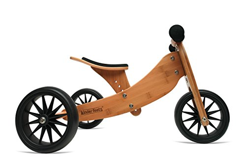 Kinderfeets TinyTot Wooden Balance Bike and Tricycle Natural - 2 in 1