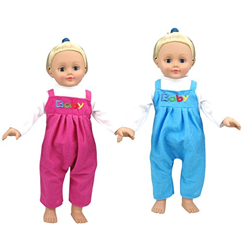 2PCS Cute Baby Doll Rose Red Clothes Clothing Rompers Outfits for 16-18 Inches American Girl DollsRed Blue