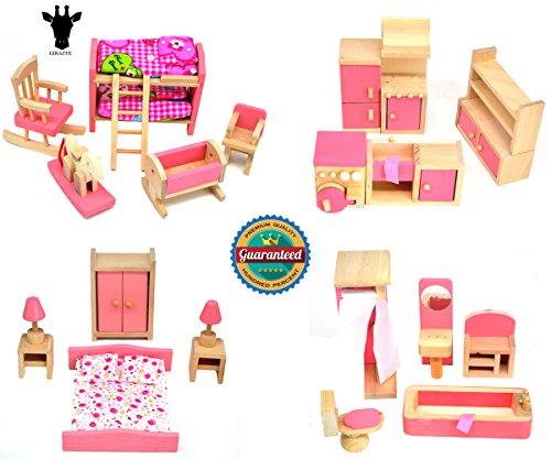 Giraffe 4 Set Pink Wooden Dollhouse Furniture Miniature Bathroom Kid Room Bedroom Kitchen House Furniture Dollhouse Decoration Pretend Play Kids Children Toy