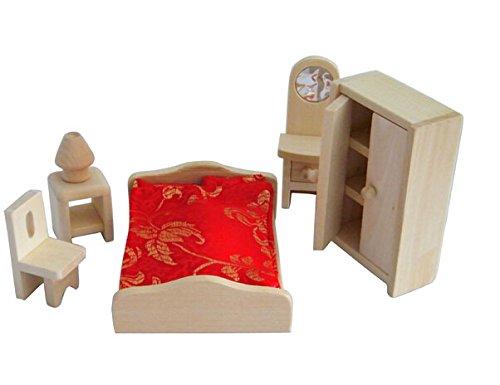 Mini Wooden Dollhouse Furniture Set Bedroom