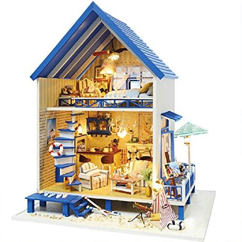 Rylai Wooden Handmade Dollhouse Miniature DIY Kit - Romantic Aegean Sea Series Miniature Scene Wooden Dollhouses FurnitureParts124 Scale Dollhouse