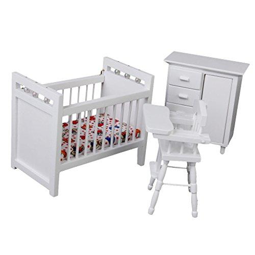 112 Dollhouse Miniature Furniture Baby Bedroom Set White