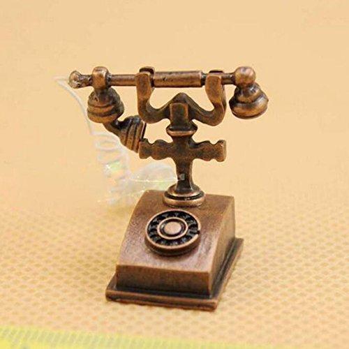 Dimart Happy Family Vintage Telephone Phone - 112 Dollhouse Miniature Furniture - Bronze