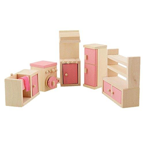 Soledi Wooden Doll Kitchen House Furniture Cooker Fridge Cupboard Dollhouse Miniature Set For Kids Children Child Gift Collectible Craft