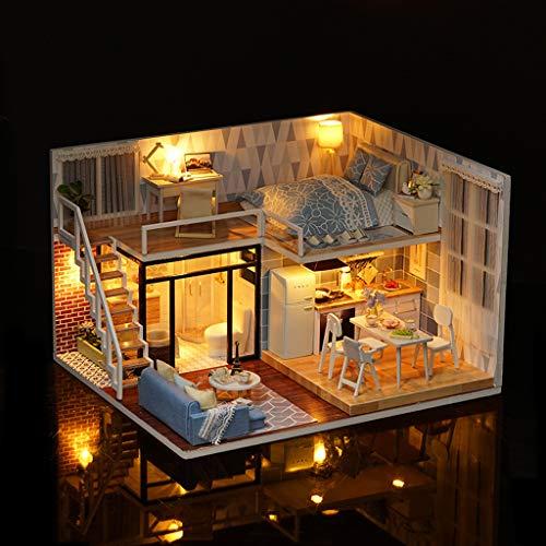 Uplord DIY Wooden House Kit Dollhouse Miniature with Furniture3D Wooden Dollhouse Furniture DIY Miniature Model Toys