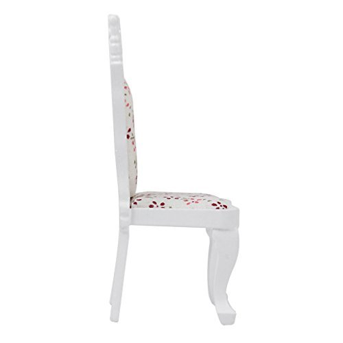 No brand goods 112 dollhouse chair Bar stools chair wooden floral two-color handmade white