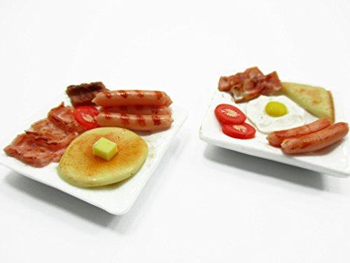 Dollhouse Miniature Food 2 Breakfast Butter Pancake On Plate Supply 13679