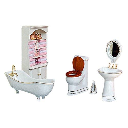 BESTLEE 112 Miniature Dollhouse Furniture Kit for Bathroom