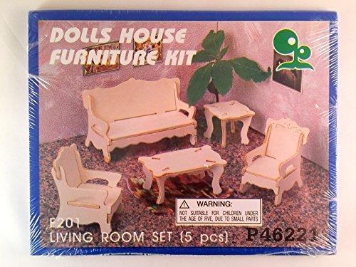 Doll House Furniture Kit - Wooden - Living Room Set 5 Pcs