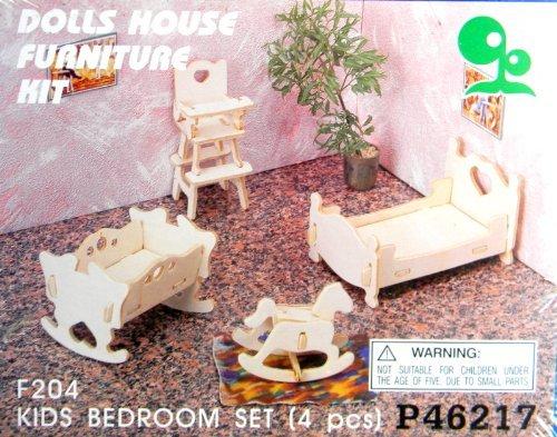 Dolls House Furniture Kit Kids Bedroom Set F204 parallel import goods