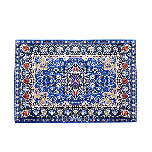BESTLEE 112 Dark Blue Vintage Woven Carpet Rug Blanket Dollhouse Furniture Accessories