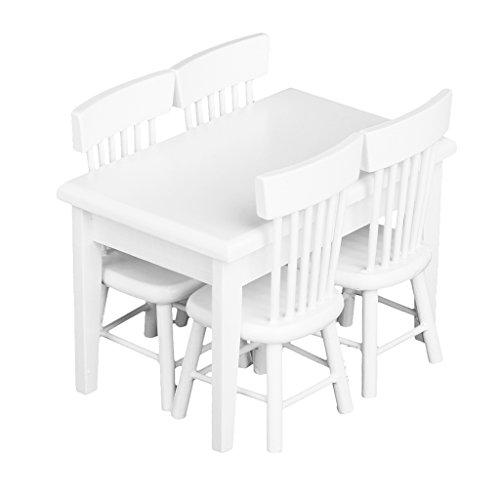 5pcs White Dining Table Chair Model Set 112 Dollhouse Miniature Furniture