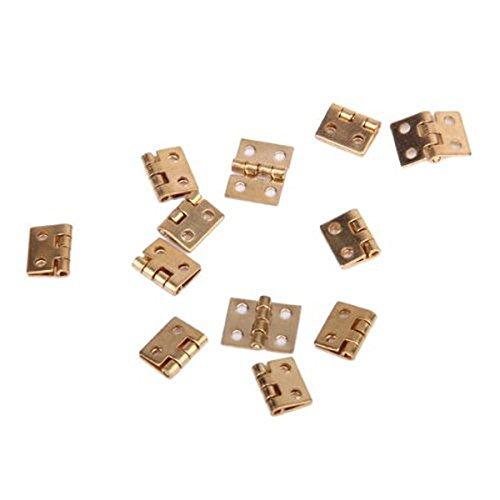 PIXNOR 12pcs Cabinet Closet Mini Hinges with 48pcs Screws for 112 Dollhouse Miniature Furniture Golden