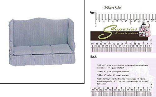 Dollhouse Sofa Light Blue Stripe
