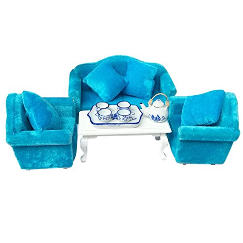 BESTLEE 112 Dollhouse Living Room Furniture Sofas and Coffee Table Blue Flannel